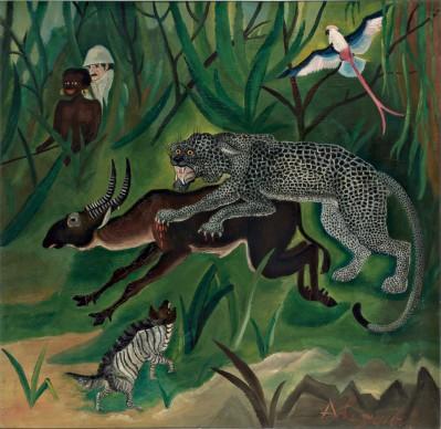 Antonio Ligabue, Caccia grossa, 1929. Olio su tavola di compensato, 66x64 cm, Collezione privata