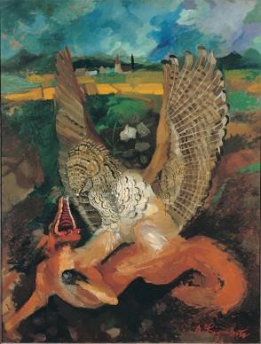 Antonio Ligabue, Aquila con volpe, s.d. (1949-1950), olio su tavola di faesite, 144 x 109 cm, Gualtieri (Reggio Emilia), collezione privata