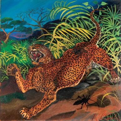 Antonio Ligabue, Leopardo nella foresta, s.d. (1956-1957), P. III. Olio su tavola di faesite, 54x54 cm, Collezione privata