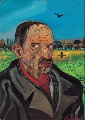 Antonio Ligabue, Autoritratto con spaventapasseri, s.d. (1955-1956). Olio su tavola di faesite, cm. 70x50, Collezione privata