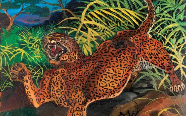An tonio Ligabue Leopardo nella foresta s.d. (1956-1957), P. III Olio su tavola di faesite, 54x54 cm Collezione privata