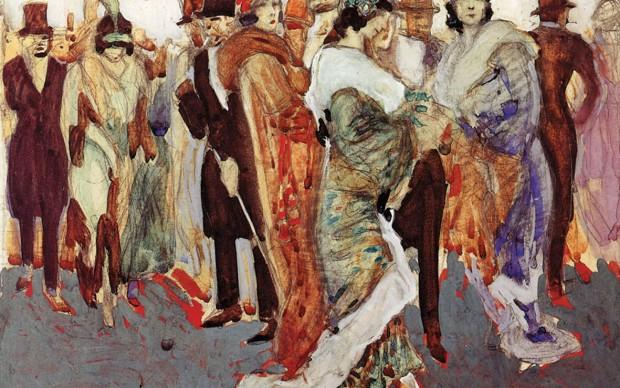 Aroldo Bonzagni, All'uscita dalla Scala, 1910 acquarello e tempera su carta applicata a cartone, 40,5x50,5 cm Milano, Galleria d'Arte Moderna