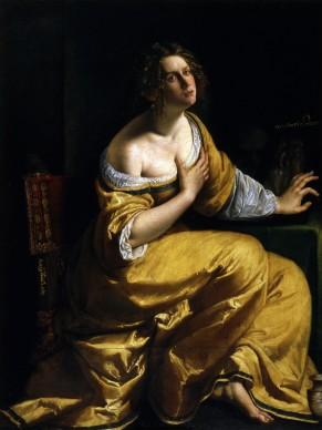 Artemisia Gentileschi,  La conversione della Maddalena, 1616-17 ca.  Olio su tela, 146,5x108 cm,  Firenze, Gallerie degli Uffizi