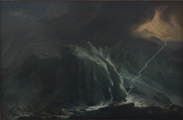 Caspar Wolf, Gewitter und Blitzschlag am unteren Grindelwaldgletscher, 1774-1775 © Aarau, Aargauer Kunsthaus, inv. 242. Photo: Brigitt Lattmann