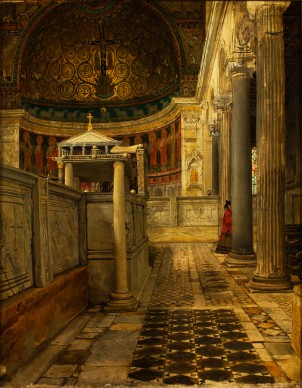 Sir Lawrence Alma-Tadema, Interior of the Church of San Clemente, Rome, 1863, 5. Fries Museum, Leeuwarden – Collection Royal Frisian Society, gift of Laurence Alma-Tadema, 1935 - conservation of frame supported by the Wassenbergh-Clarijs-Fontein Foundation, 2015. Photo © Martin Rijpstra