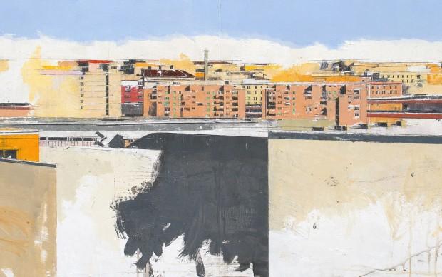 Giorgio Ortona, Aglio, olio e peperoncino, 2016, olio su tavola, 61x240 cm