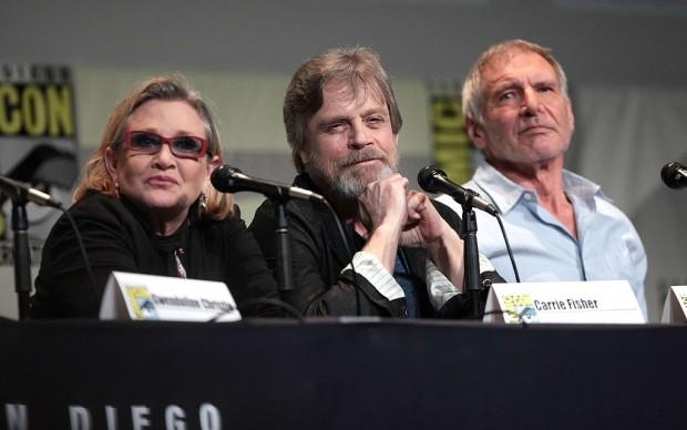 Carrie Fisher, Mark Hamill e Harrison Ford al San Diego Comic Con International per la presentazione di Star Wars Il risveglio della Forza, San Diego, California