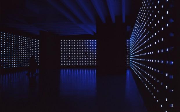 Tatsuo Miyajima, Mega Death, 1999, Installation view at the Japan Pavilion, 48th Venice Biennale. Image courtesy the artist and SCAI THE BATHHOUSE © the artist, Photograph: Shigeo Anzai
