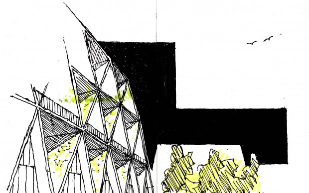 Il disegno di Eton Leniz parte della mostra Sketchs for Syria