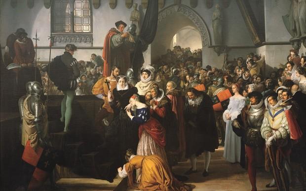 Francesco Hayez, Maria Stuarda sale al patibolo, olio su tela, 210 x 293 cm. Milano, Banca Cesare Ponti
