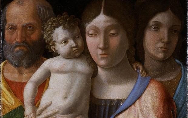 Andrea Mantegna, Sacra Famiglia con una Santa, tempera su tela, Verona, Museo di Castelvecchio