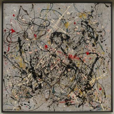 Jackson Pollock, Number 18, 1950, Solomon R. Guggenheim Museum, New York, Gift, Janet C. Hauck, in loving memory of Alicia Guggenheim and Fred Hauck. Photo Kristopher McKay. © Pollock-Krasner Foundation, SABAM Belgium 2016