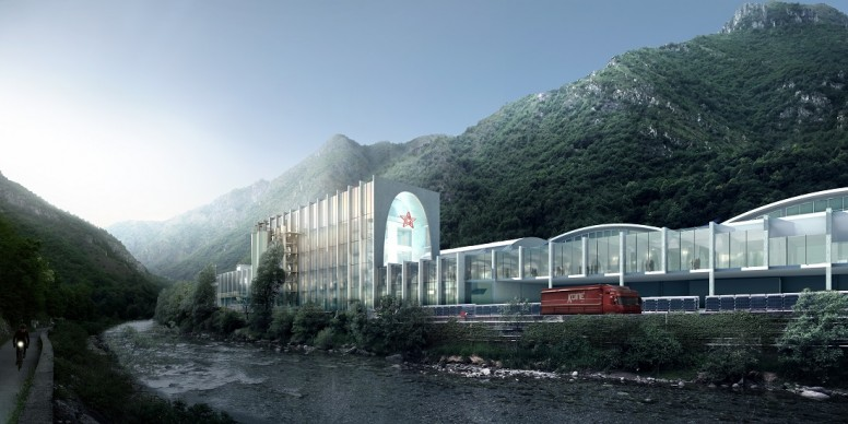 BIG - Bjarke Ingels Group, S.Pellegrino Flagship Factory, render