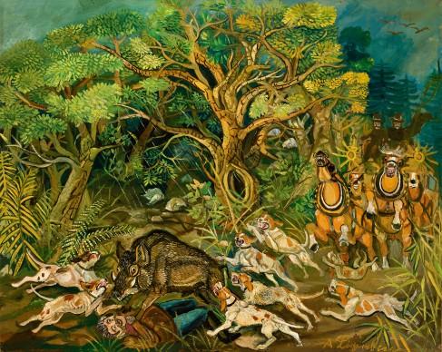 Antonio Ligabue, Caccia al cinghiale con postiglione, 1954-1955, olio su tavola di faesite, 97x98 cm