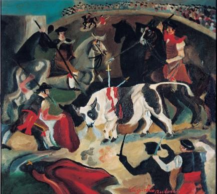 Antonio Ligabue, Corrida, s.d. (1931-1932), olio su tavola di compensato, 55 x 61 cm, Guastalla ( Reggio Emilia), collezione privata