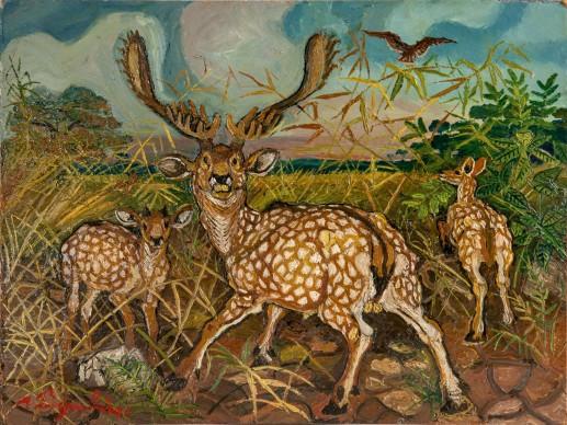 Antonio Ligabue, Daini con paesaggio, s.d. (1952), olio su tavola di faesite, 29,8 x 40 cm, Guastalla ( Reggio Emilia), collezione privata