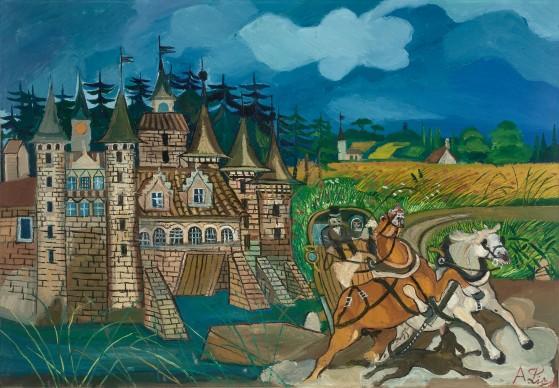 Antonio Ligabue, Diligenza con castello, 1957-1958, olio su tela, 70x100 cm