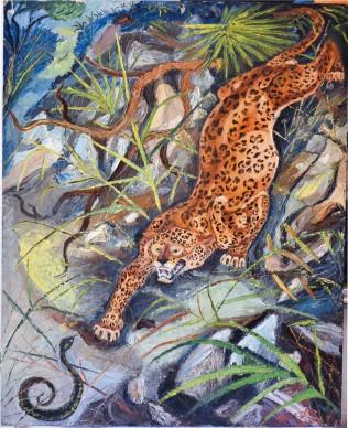Antonio Ligabue, Leopardo con serpente, s.d. (1942-1944), olio su tavola di compensato, 48 x 38,8 cm, Reggio Emilia, collezione privata