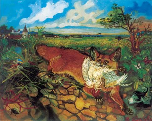 Antonio Ligabue, Volpe in fuga, s.d. (1948), olio su tavola di faesite, 60 x 75 cm, Reggio Emilia, collezione privata