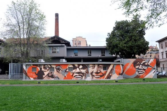 Inaugurazione del murales dedicato a Dario Fo e Franca Rame alla Civica Scuola Paolo Grassi
