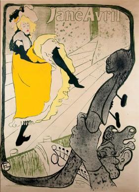 Henri de Toulouse-Lautrec, Jane Avril (Before Letters), 1893, Color Lithography, 124x91,5 cm © Herakleidon Museum, Athens Greece