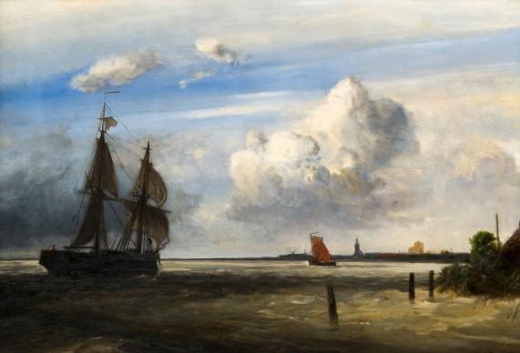 Johan Barthold Jongkind, La foce del fiume Schelda, 1854, olio su tela, cm 38,7 x 57,3