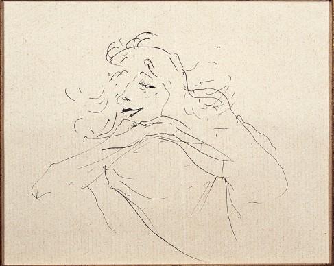 Henri de Toulouse-Lautrec, Study of Y. Guilbert (II), 1894, Ink Drawing, 11x12 cm © Herakleidon Museum, Athens Greece