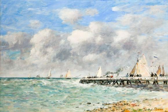 Louis Eugéne Boudin, Il molo di Trouville, 1893, olio su tela, cm 52 x 77
