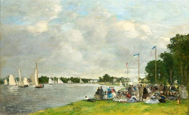 Louis Eugéne Boudin, Regata ad Argenteuil, 1866, olio su tela, cm 55 x 72
