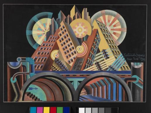 Fortunato Depero, Grattacieli e Tunnel, 1930