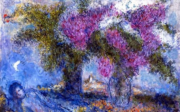 Marc Chagall, Bouquets de Lilas a Saint-Paul (Bouquets of Lilacs at Saint-Paul), 1978