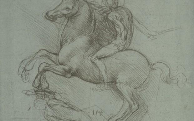 Leonardo da Vinci, Royal Collection, Windsor, c. 12358r/P106r Studio per il monumento equestre a Francesco Sforza