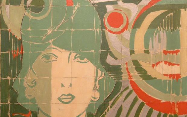 Giosetta Fioroni: Donna con cappello in un paesaggio geometrico, 1966,