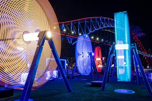 Vivid Sydney 2017, Hickson Road Reserve, Freedom of Movement. Photo by Destination NSW