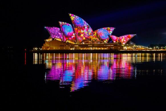 Vivid Sydney 2017, Sydney Opera House, Lighting of The Sails Audio Creatures. Photo James Horan