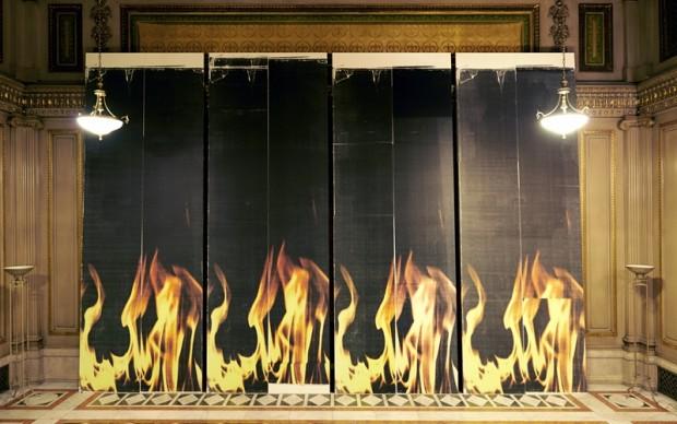 Untitled 2013 Quattro quadri Stampa a getto di inchiostro Epson UltraChrome K3 su lino 175 x 488 x 4 cm ciascuno Veduta dell'allestimento a 2013 Carnegie International, Carnegie Museum of Art, Pittsburgh, PA, 2013