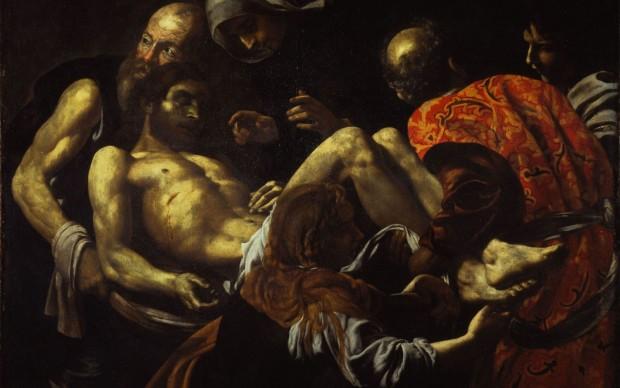 Giovan Battista Caracciolo, detto Battistello Cristo morto trasportato al sepolcro primo quarto del XVII secolo Olio su tela, cm. 128 x 164
