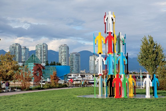 Jonathan Borofsky (born in 1942), Human Structures Vancouver, 2010, 64 moulded, welded and painted galvanized steel figures, concrete base, 730 x 510 x 510 cm. Vancouver Biennale loan, in collaboration with the McGill University Visual Arts Collection. Photo GoToVan