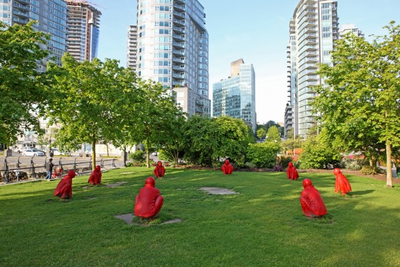 Wang Shugang (born in 1960), The Meeting, 2007, 8 painted bronze figures, 92 x 75 cm (each). Collection of the artist, Vancouver Biennale loan, in collaboration with the McGill University Visual Arts Collection. Photo Dan Fairchild