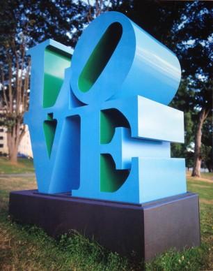 Robert Indiana (born Robert Clark in 1928), LOVE Blue Green, 1996, painted aluminum, 1/2, artist's proof, 193 x 169 x 91 cm. Buschlen Mowatt Nichol Foundation, Vancouver Biennale loan. © Robert Indiana / SODRAC (2017). Photo Dave Aharonian
