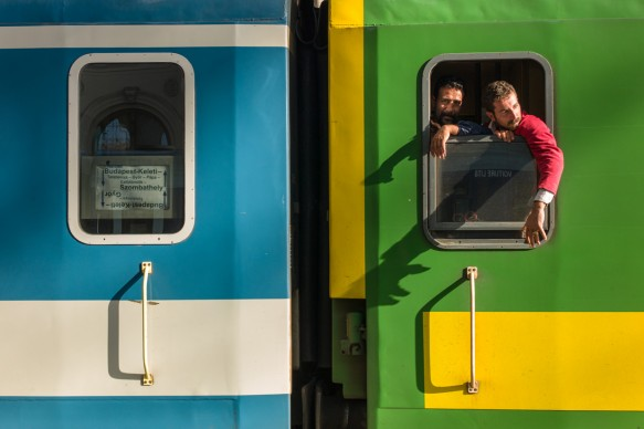 """Michel Huneault (born in 1976), Boarding and Departure from Budapest, Hungary, for Germany, from the series """"Occident Express,"""" 2015, ink-jet print on adhesive vinyl, 1/1. Courtesy of the artist"""