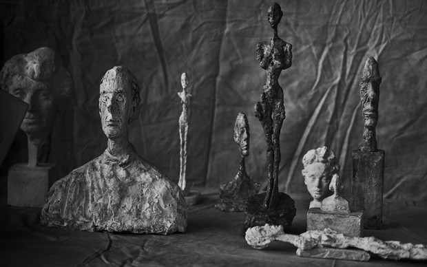 Peter Lindbergh Alberto Giacometti, Group Of Nine, Zurich, 2016, 2016 Hahnemuhle Photo Rag® Baryta 315 grs 23 5/8 x 35 7/16 inches (60 x 90 cm) © Peter Lindbergh © Succession Alberto Giacometti (Fondation Giacometti + ADAGP) Paris 2017