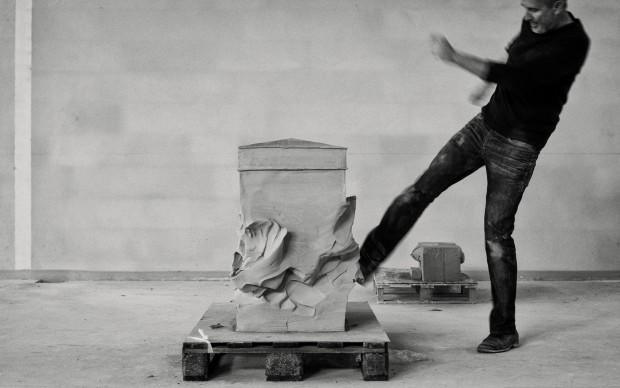 Erwin Wurm, House Attack, Performance, 2012 © Gerald Y Plattner