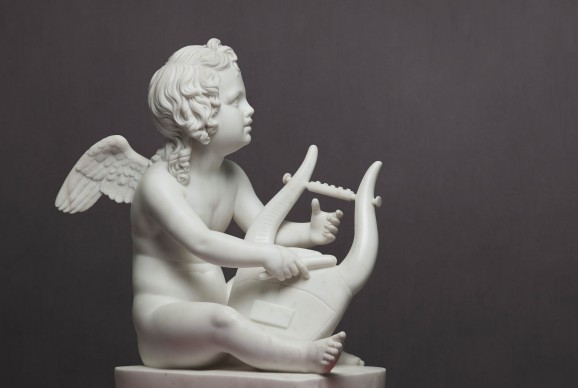 Bertel  Thorvaldsen , Amore con la lira, Marmo. H. 58, prov. Ermitage