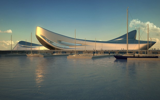Regium Waterfront, Reggio Calabria 2007 - TBC Render, Courtesy Zaha Hadid Architects