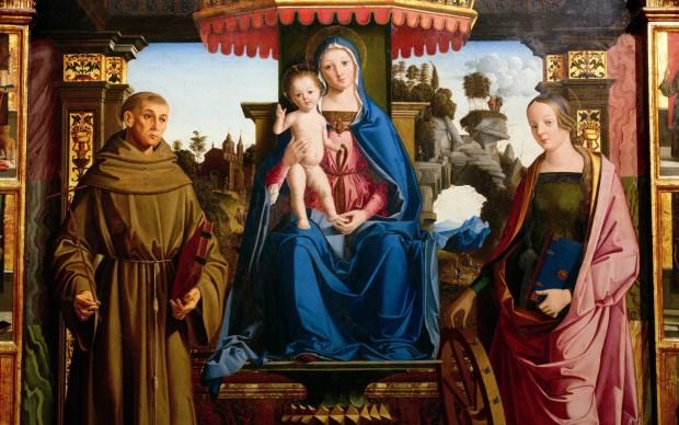Marco Palmezzano (Forlì 1459 circa - 1539) Madonna in trono tra i santi Francesco e Caterina d'Alessandria, 1501. Olio e oro su tavola, Matelica (Macerata), chiesa di San Francesco