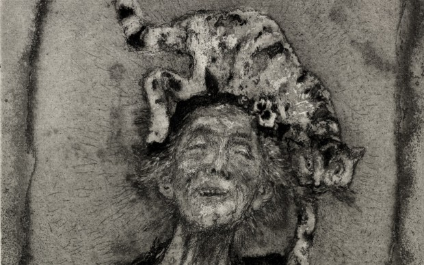 Giancarlo Vitali.La dama dei gatti 2°.1986.acquaforte_acquatinta