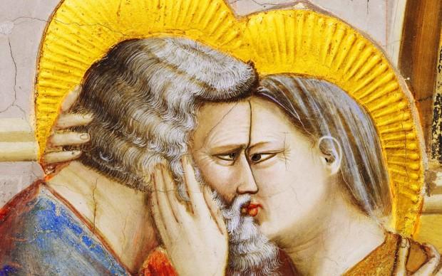 Giotto, Incontro tra Gioacchino e Anna alla Porta d'Oro, dettaglio, Cappella degli Scrovegni - Padova