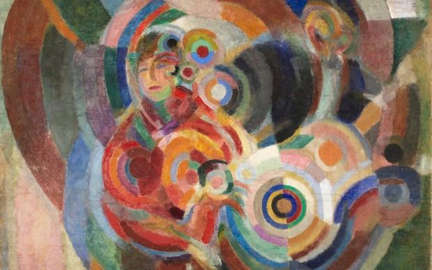 Sonia Delaunay Cantantes de flamenco (Gran flamenco), 1915-1916 (Flamenco Singers (Large Flamenco) Óleo y cera sobre lienzo. 174,5 x 143 cm Museu Calouste Gulbenkian, Lisboa. Coleção Moderna