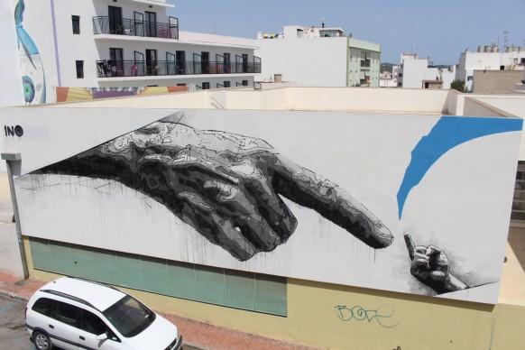 Ino a BLOOP Festival 2016 - No fear, Ibiza, muro censurato